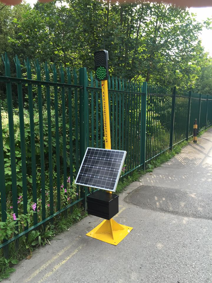 Solar Powered Remote Control Traffic Light Transport Support